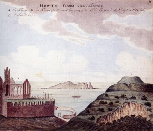 Fig. 3 View of Ireland's Eye from St Mary's,Howth, Gabriel Beranger, 1779. Source.