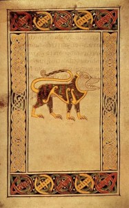Fig.2b Lion,  f. 191v , Book of Durrow, MS 57 © The Board of Trinity College Dublin, the University of Dublin. 2015.