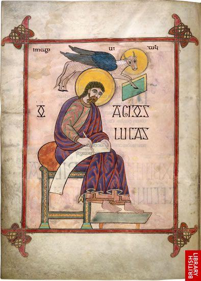 Fig. 2c Luke, f. 137v, Lindisfarne Gospels, British Library MS Cotton Nero D IV. Source.
