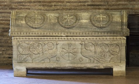 Figure 4 Sarcophagus of Theodore, 5th c. (lid, 7th c.), Sant'Apollinare in Classe, Ravenna. Photo: Fr. Lawrence Lew. Source.