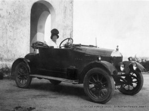 At the wheel, Mombassa, 1922. (Private collection).