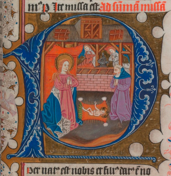 Nativity scene from the fifteenth-century Fagel missal (TCD MS 83 folio 20r)