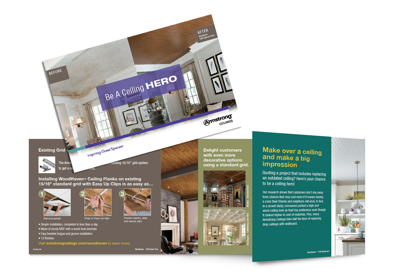 direct mail design, armstrong, ceiling hero