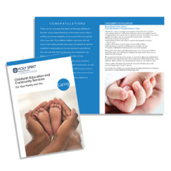 brochure design, childbirth education brochure, holy spirit, geisinger affiliate