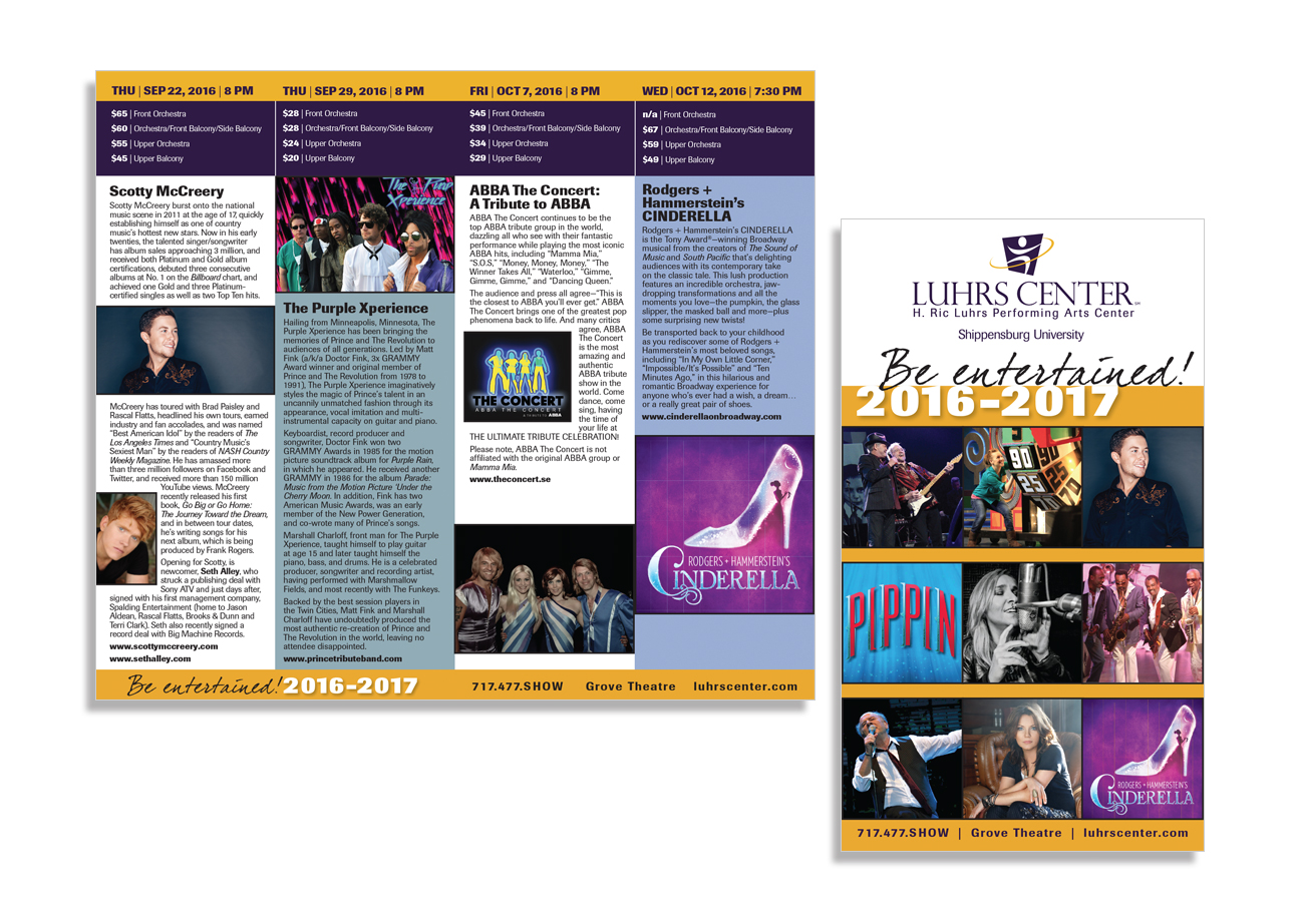 brochure design, luhrs performing arts center 2016-17 season brochure