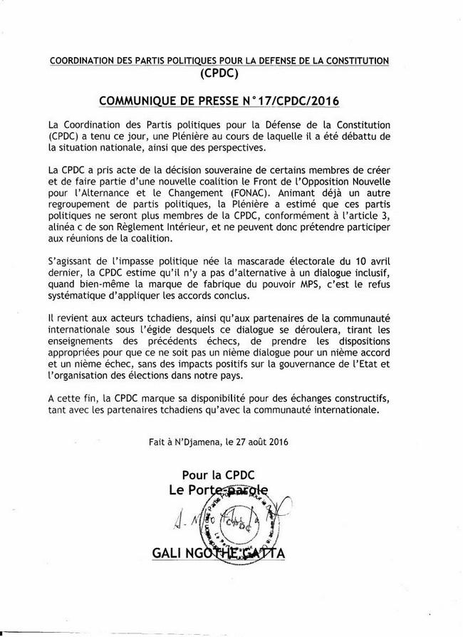 Communiqué CPDC-27.08.16