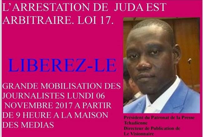 Tchad: mobilisation des journalistes pour exiger la libération de Juda