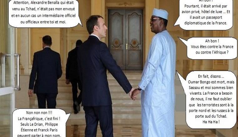 Image satirique sur la visite du Président Emmanuel Macron au Tchad