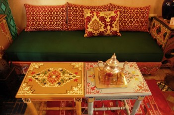 Moroccan hand painted tables and sofa