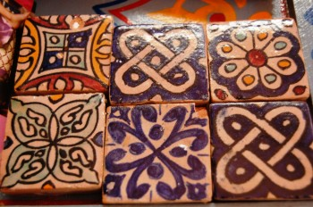 Moroccan hand painted tiles close up