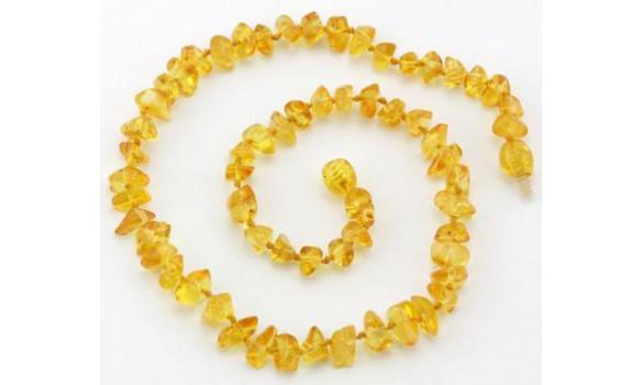 Collier d'ambre pépites miel