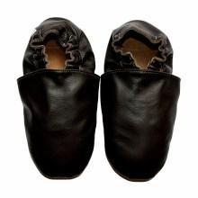 Chaussons bébé enfant adulte en cuir souple noir