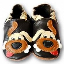 Chaussons bébé enfant en cuir souple doggy black