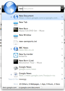 Creating a new Google Doc with Quick Search Box