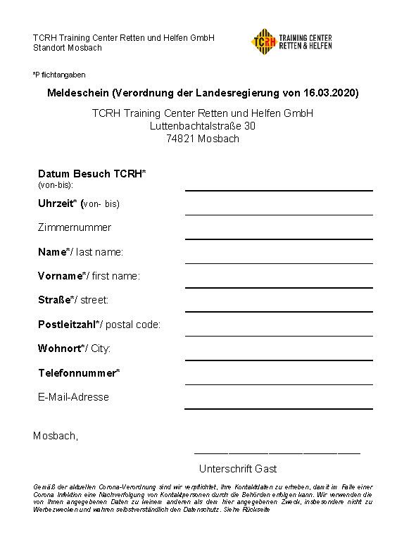 TCRH Mosbach Meldeschein
