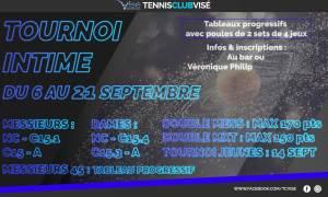 Tournoi intime 2019 du 6 au 21 septembre @ TC Visé
