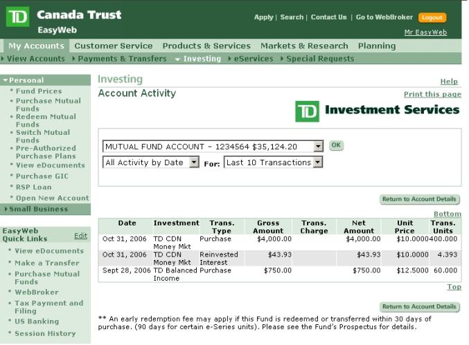 Td Canada Trust Easyweb