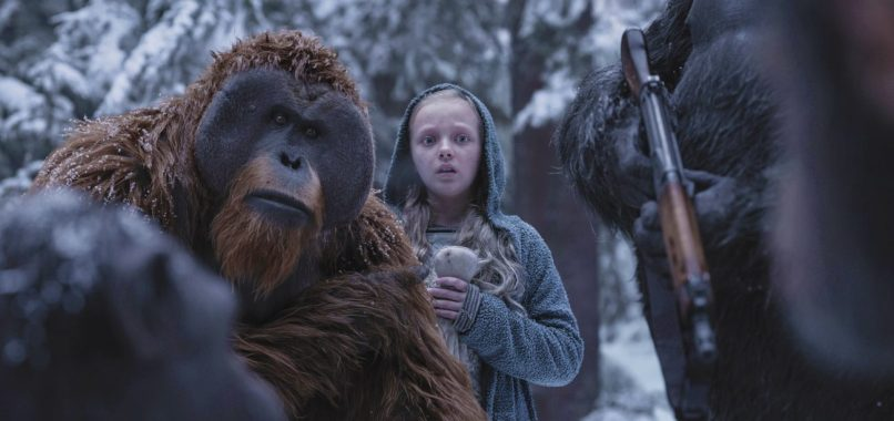 Karin Konoval, and Amiah Miller in War for the Planet of the Apes.