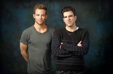 Zachary Quinto (Spock) și Căpitanul Kirk (Chris Pine)