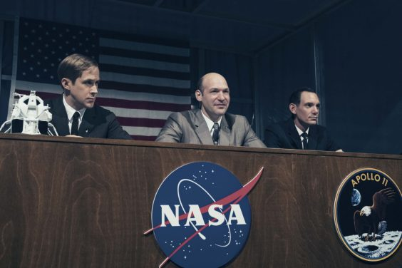 Ryan Gosling, Corey Stoll, and Lukas Haas in FIRST MAN