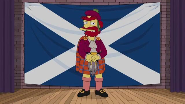Il giardiniere Willie dei Simpson vestito da tipico scozzese con alle spalle a bandiera della Scozia