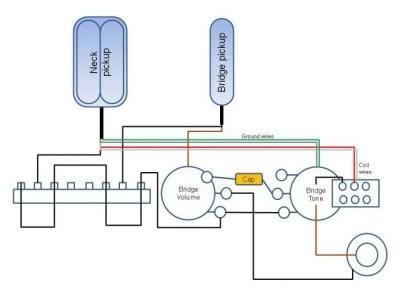 wiring for 1 humbucker  1 singlecoil  1 pushpull pot for