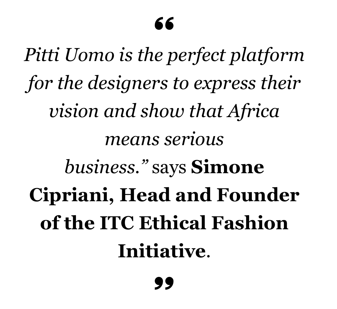 Generation Africa Designers selected by Ethical Fashion Initiative for Pitti Uomo 89, ITC Ethical Fashion Initiative AKJP, Ikire Jones, Lukhanyo Mdingi x Nicholas Coutts & Ur