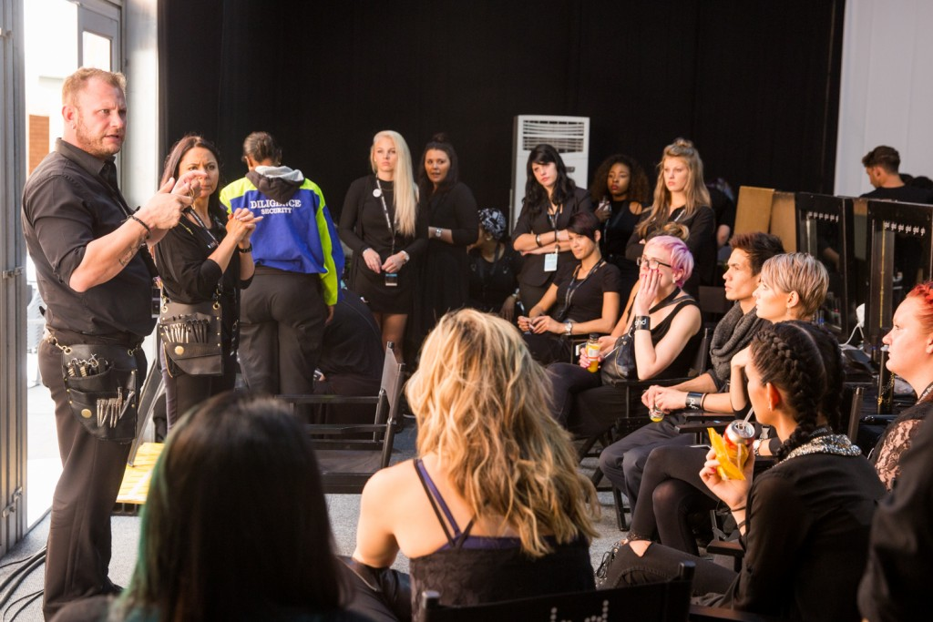 Backstage briefing at Mercedes Benz Fashion Week Johannesburg (Photo courtesy of AFI)