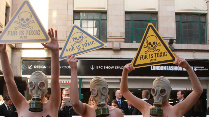 Models Wear Gas Masks at London Fashion Week to Protest Fur (Image by PETA)