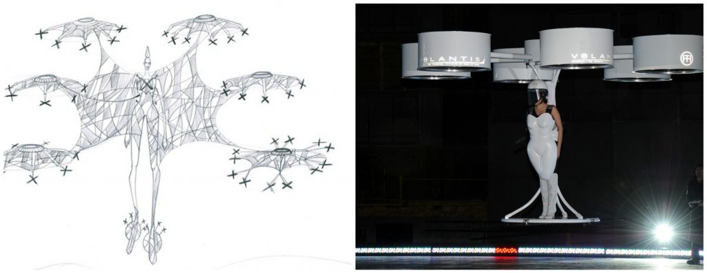 From Left: Early Volantis sketch [Image: Courtesy of Studio XO] and the product on Lady Gaga