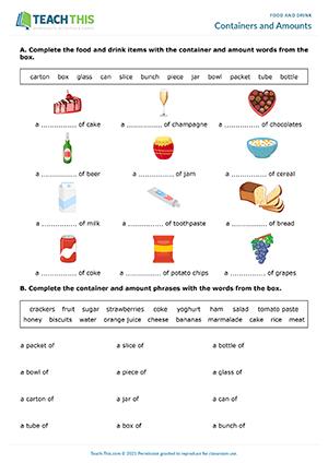 Food Drink ESL Worksheets Activities Games