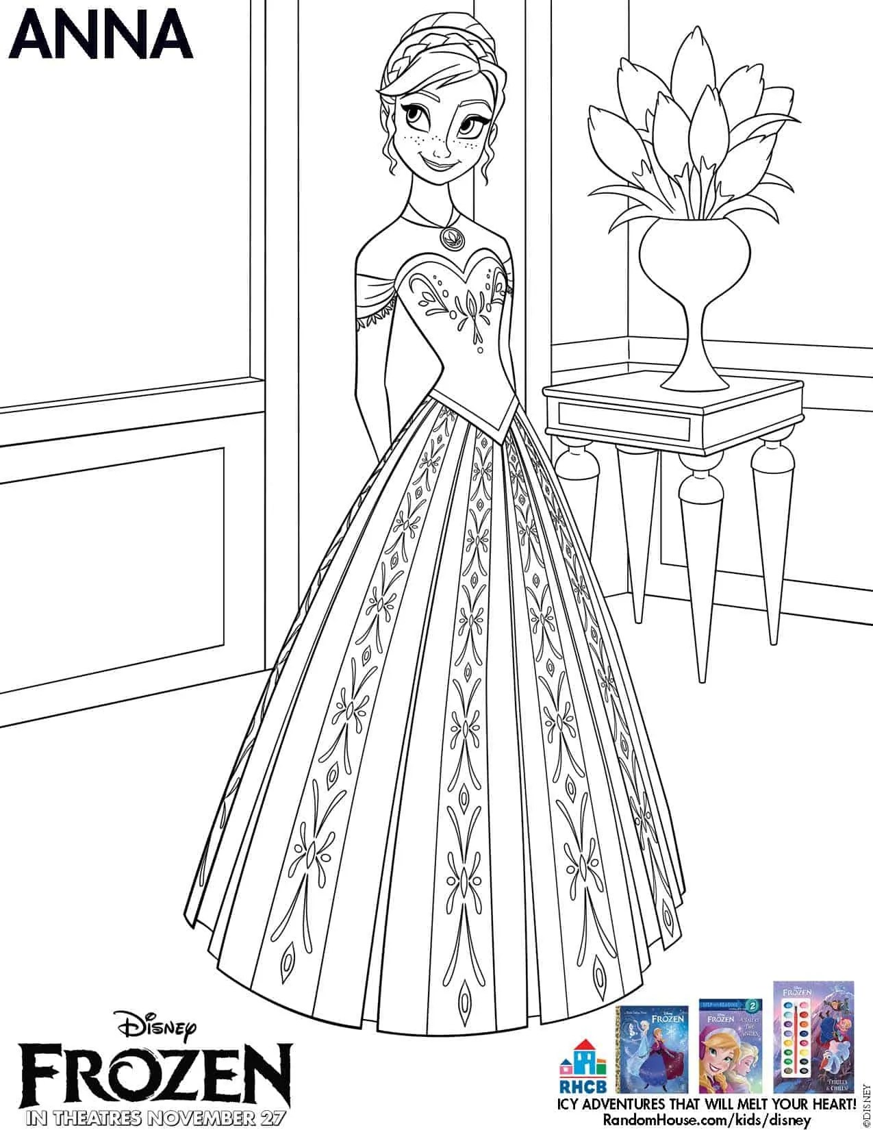 Frozen Anna And Elsa Coloring Pages Printable Free Coloring