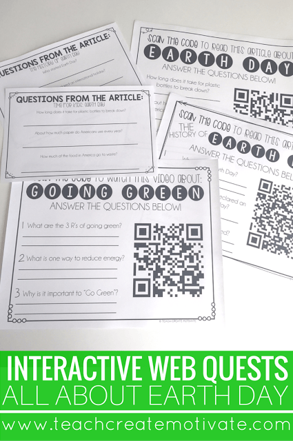 Web quests provide students with engaging and meaningful connections to learn about Earth Day