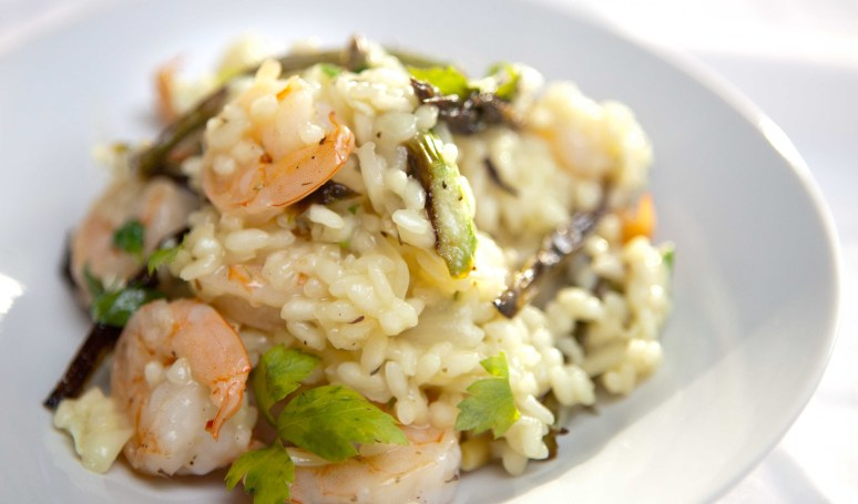 Roasted Asparagus and Shrimp fresh Risotto