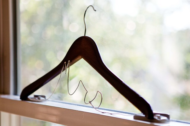 mrs. custom wire and wooden hanger