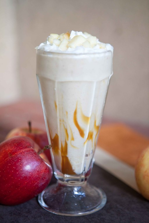 Caramel and Whipped Cream Apple Shake