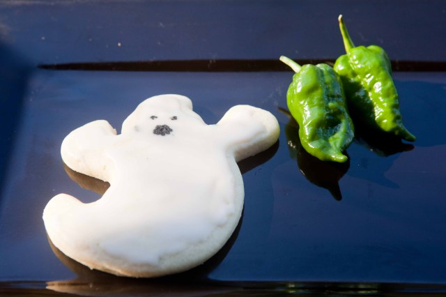 ghost cookie with ghost peppers