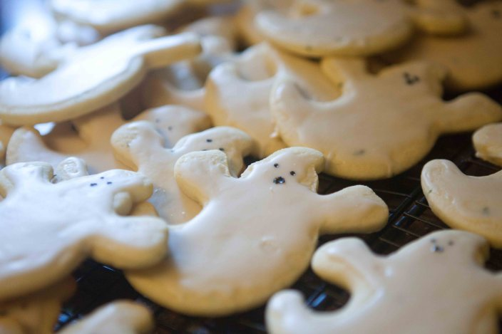 ghost pepper cookies on a tray