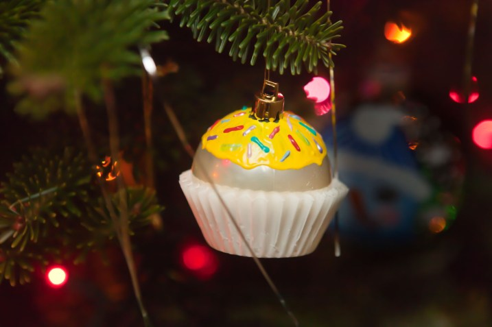 cupcake ornament on tree