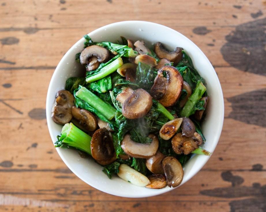garlic greens and mushroom