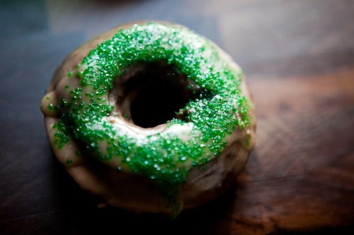 chocolate glazed and sprinkled donut