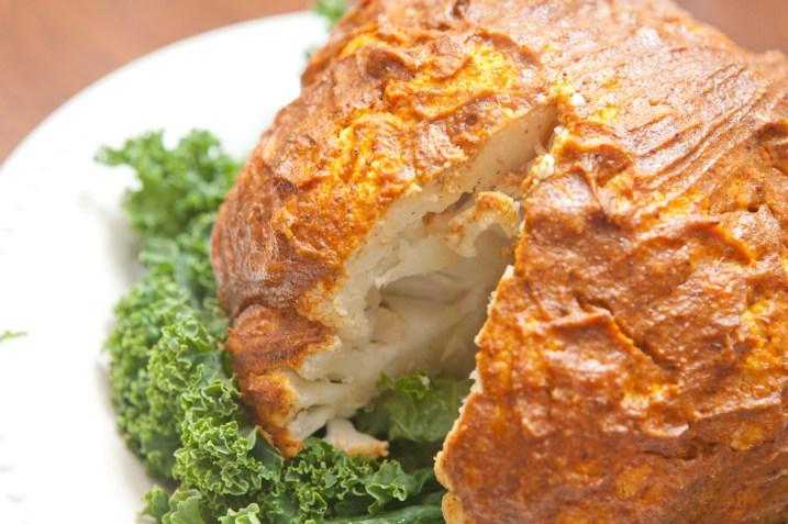 close up roasted cauliflower slice