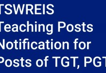 TSWREIS Teaching Posts Notification for 549 Posts of TGT, PGT