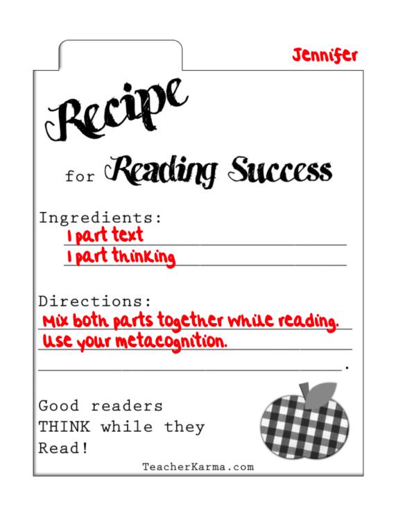 Secret Recipe For Reading Success Freebie