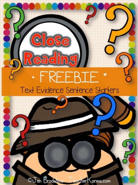 FREE Close Reading ~ Text Evidence Sentence Starters