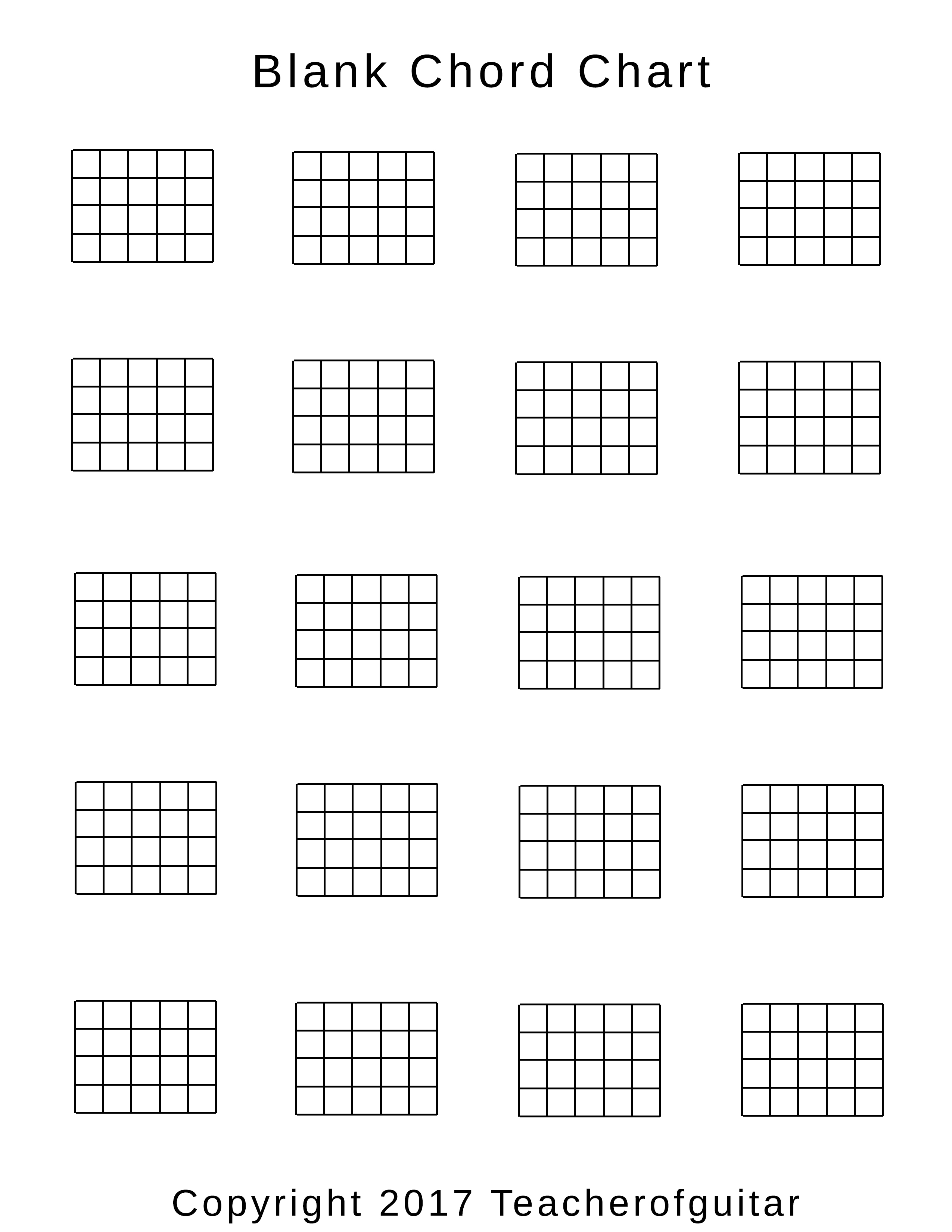 picture relating to Printable Chord Chart known as Blank Chord Chart - Trainer of Guitar