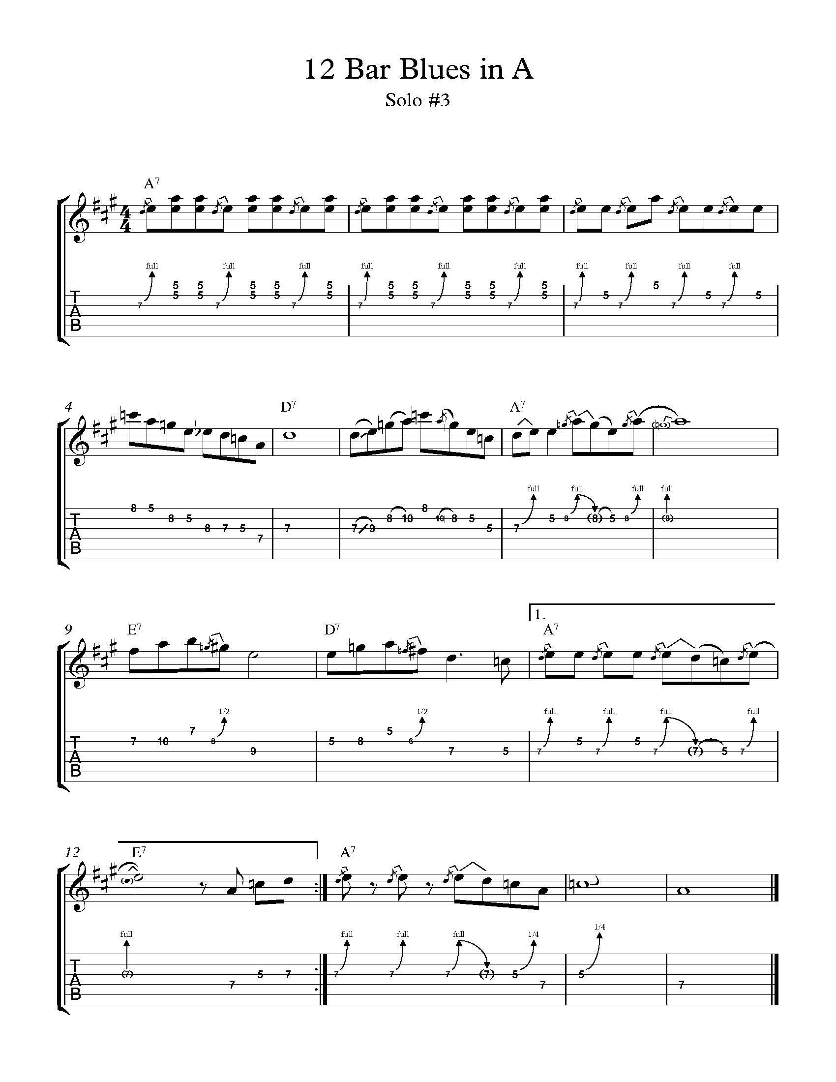 12 Bar Blues In A Solo #3 - Teacher of Guitar