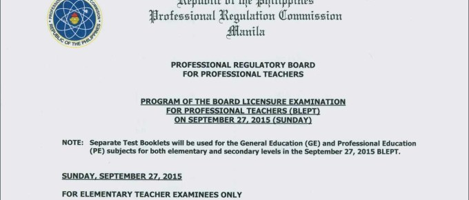 PRC Licensure Examination Program of the Board September 27, 2015