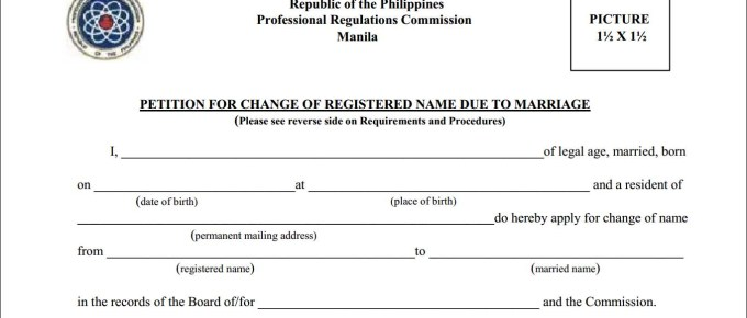PRC Petition Form for change of registered name due to marriage
