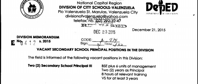 DepEd Valenzuela - Vacant Secondary School Principals Positions in the Division
